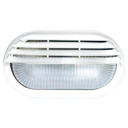 GAO 6929H Hajólámpa, ovális, félig fedett, műanyagráccsal, fehér,
