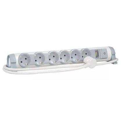 LEGRAND 694647 6x2P+F elosztósor CON&SEC, 3m vezetékkel, fehér-szürke