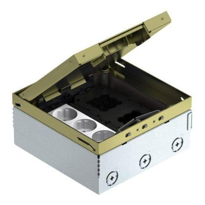 OBO 7427204 UDHOME4 2M V Padlódoboz Gb2 Szerelvénykehellyel, Szerelvényezett, védőérintkezős dugaljjal sárgaréz