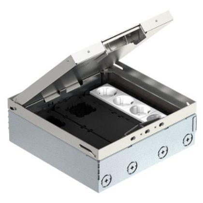OBO 7427300 UDHOME9 2V GB V Padlódoboz Gb3 Szerelvénykehellyel, Szerelvényezett, védőérintkezős dugaljjal rozsdamentes acél