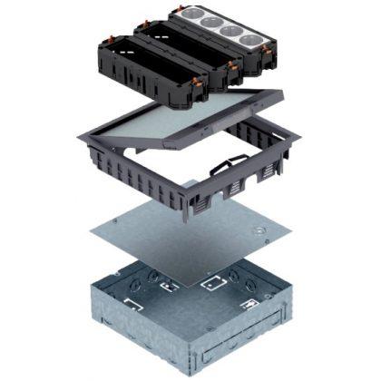 OBO 7427420 UDHOME GES9 7011 Padlódoboz szerelvénybetéttel komplett acélszürke