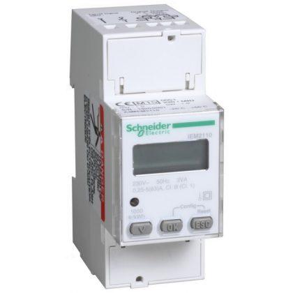 SCHNEIDER A9MEM2110 iEM2110 1 fázisú fogyasztásmérő 63A kijelzővel, kWh és kvarh impulzus kimenet 2 tarifa, 4 negyedes fogyasztásmérés, MID