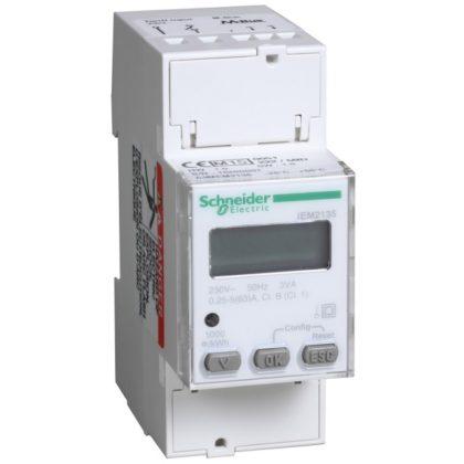 SCHNEIDER A9MEM2135 iEM2135 1 fázisú fogyasztásmérő 63A kijelzővel, M-Bus 2 tarifa, 4 negyedes fogyasztásmérés, MID