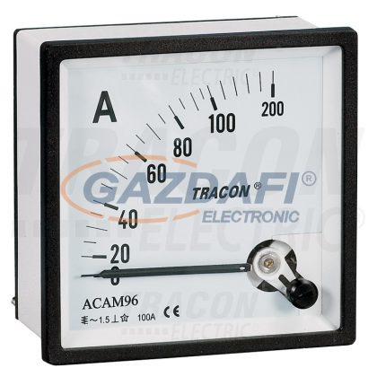 TRACON ACAM72-50 Analóg váltakozó áramú ampermérő közvetlen méréshez 72×72mm, 50A AC