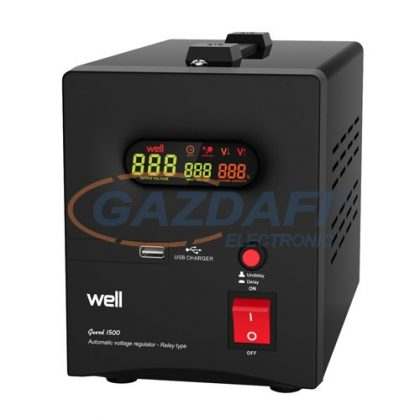 WELL AVR-RELGUARD1500 Automatikus feszültség relé stabilizátor 1500VA, fekete