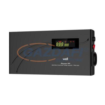 WELL AVR-RELSLIMPOWER500 Automatikus feszültség relé stabilizátor 500VA, vízszintes