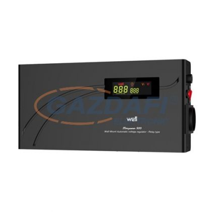 WELL AVR-RELSLIMPOWER1500 Automatikus feszültség relé stabilizátor 1500VA, vízszintes