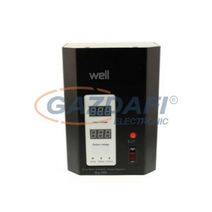 WELL AVR-SRVSPRY1000BK Automatikus feszültségstabilizátor falra szerelhető szervó motorral, 1000VA, fekete
