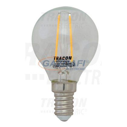 TRACON COGP452W COG LED gömb fényforrás, átlátszó 230 VAC, E14, 2 W, 200 lm, P45, 3000K