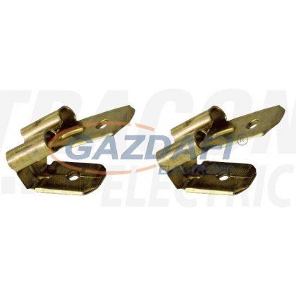 TRACON CSEL Szigeteletlen rátolható csatlakozó csap+hüvely, sárgaréz 6,3×0,8mm, 1-2,5mm2