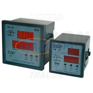 TRACON DTT-1-72 Digitális amper és voltmérő állítható áramváltó áttétellel 72×72mm, 500V AC, 0-9500/5A AC