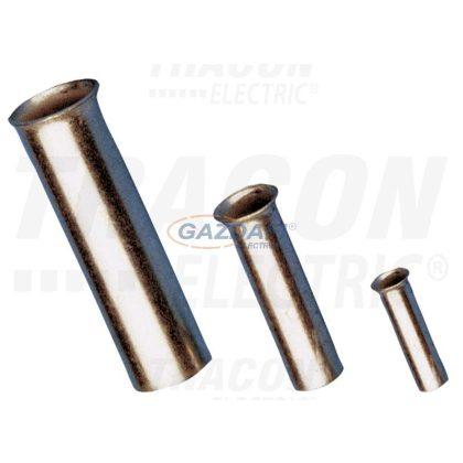 TRACON E02NR Szigeteletlen érvéghüvely, ónozott elektrolitréz 0,75mm2, L=8mm