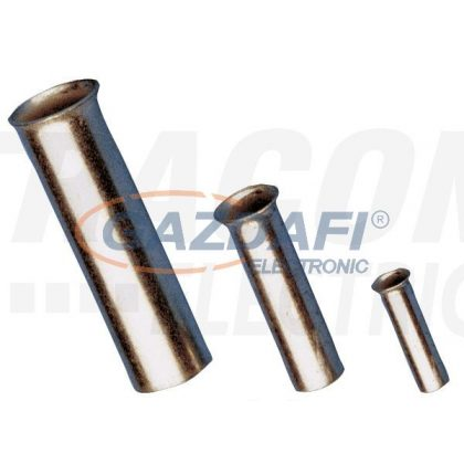 TRACON E08N Szigeteletlen érvéghüvely, ónozott elektrolitréz 10mm2, L=15mm