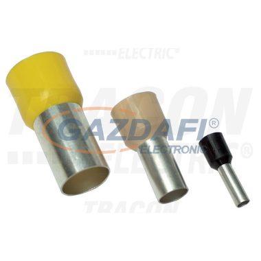 TRACON E100 Szigetelt (PA6.6) érvéghüvely, ónozott elektrolitréz, sárga 1mm2, L=16,4mm