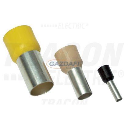 TRACON E110 Szigetelt (PA6.6) érvéghüvely, ónozott elektrolitréz, sárga 1mm2, L=18,4mm