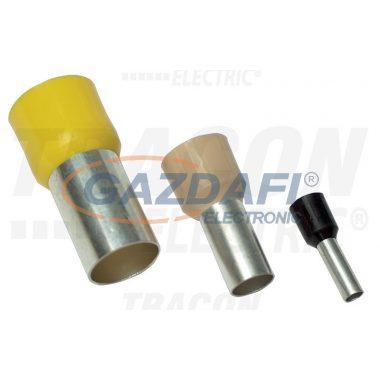 TRACON E124 Szigetelt (PA6.6) érvéghüvely, ónozott elektrolitréz, vaj 10mm2, L=21,5mm