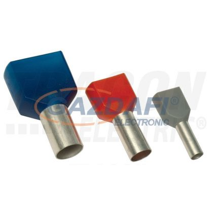 TRACON E90I Szigetelt (PA6.6) iker-érvéghüvely, ónoz. elektr.réz, piros 2×1mm2, l=8mm