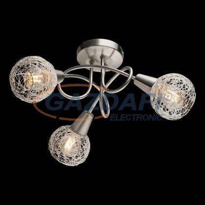 """ELMARK 955JULIE3R """"Julie"""" mennyezeti, falon kívüli spot lámpa, 3xE14, szatén nikkel/alumínium, 390x240mm, A++-E"""