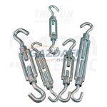 TRACON FHH660 Sodrony-és huzalfeszítő horog-horog, acél+temperált öntvény 6×60mm, 1050N, 10 db/csomag