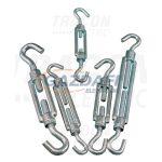 TRACON FHH8110 Sodrony-és huzalfeszítő horog-horog, acél+temperált öntvény 8×110mm, 2000N, 10 db/csomag