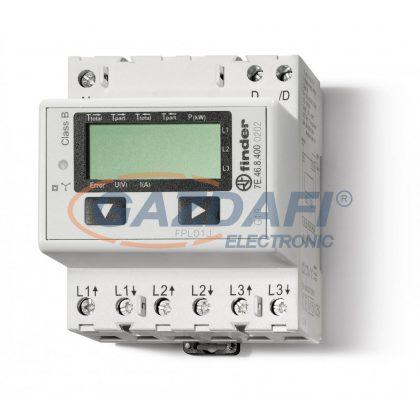 FINDER 7E.46.8.400.0202 Fogy.mérő, 3F,4KE,65A, LCD, MODBUSZ