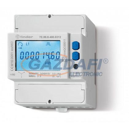 FINDER 7E.86.8.400.0212 Fogyasztás mérő, áramváltós, 3F, 4KE, LCD, MODBUS, MID