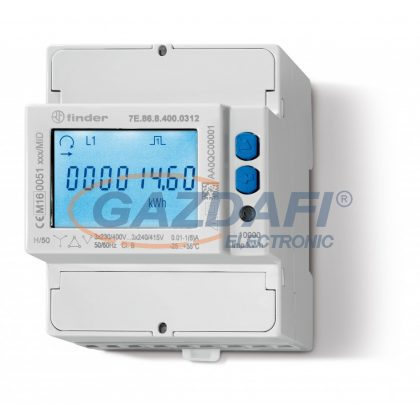 FINDER 7E.86.8.400.0312 Fogyasztás mérő, áramváltós, 3F, 4KE, LCD, M-BUS, MID