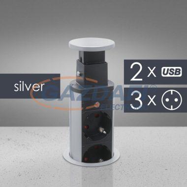 DELIGHT 20430SU Rejtett elosztó 3-as + 2 USB, ezüst, 230 V, 16A, 3 x 1,5 mm²