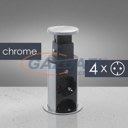 20431C Rejtett elosztó 4-es, króm, 250 V, 16A, 3 x 1,5 mm²