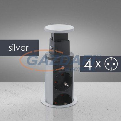 DELIGHT 20431S Rejtett elosztó 4-es, szürke/fekete, 230 V, 16A, 3 x 1,5 mm²