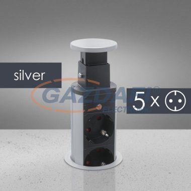 DELIGHT 20432 Rejtett elosztó 5-ös, szürke/fekete, 230 V, 16A, 3 x 1,5 mm²