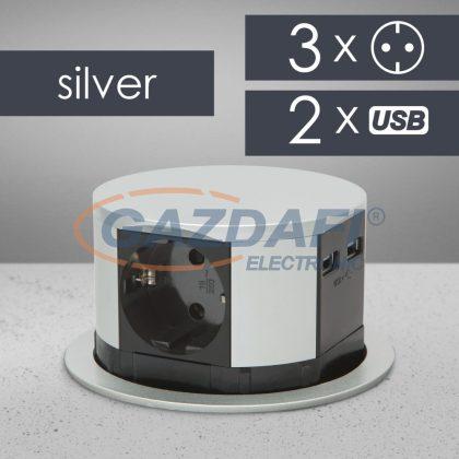 20433 rejtett elosztó 3-as + 2 USB, ezüst, 230 V, 16A, 3 x 1,5 mm²