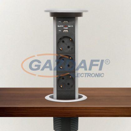 DELIGHT 20450 Motoros rejtett elosztó 3-as + 2 USB, ezüst, 230V AC (50 Hz), 16 A, 3 x 1,5 mm² C19