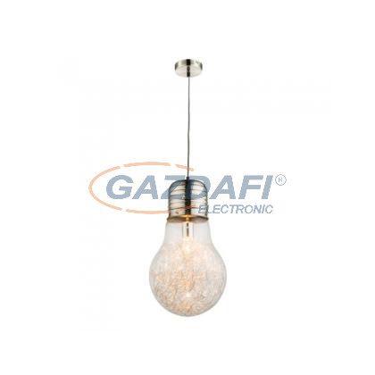 GLOBO 15037  LEVIN  Függeszték , 60W , E27 , nikkel matt, alumínium háló, üveg, textil kábel