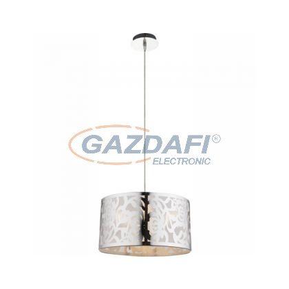 GLOBO 15084  BENT Függeszték , 60W , E27 , rozsdamentes acél, króm, műanyag