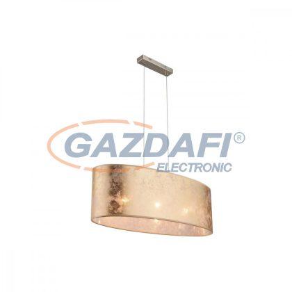 GLOBO 15187H2 AMY Függeszték  , 60W , 3x E27 , nikkel matt , textil , műanyag , arany