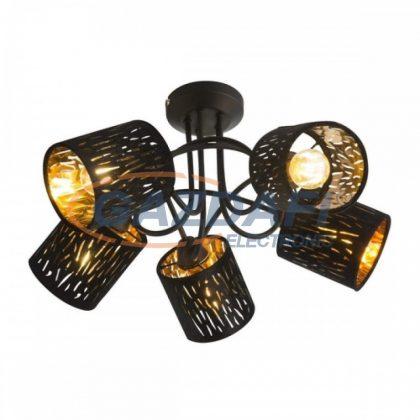 GLOBO 15264-5D TUXON Mennyezeti lámpa , 25W , 5x E14 , fém fekete / bársony / műanyag arany