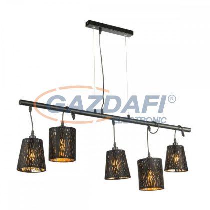 GLOBO 15264-5H2 TUXON Függeszték , 25W , 5x E14 , fém fekete / bársony / műanyag arany
