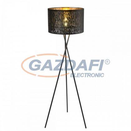 GLOBO 15264S1 TUXON Állólámpa , 60W , E27 , fém fekete / bársony/ műanyag arany