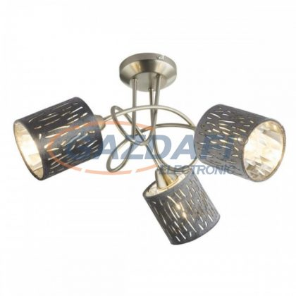 GLOBO 15265-3D TAROK Mennyezeti lámpa , 25W , 3x E14 , nikkel matt / bársony / műanyag ezüst