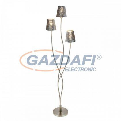 GLOBO 15265-3S TAROK Állólámpa , 25W ,  3x E14  , nikkel matt / bársony / műanyag ezüst