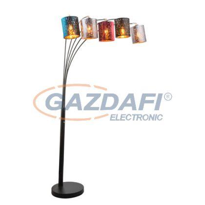 GLOBO 15266S4 Ticon Állólámpa , 25W ,  5x E14 , fém fekete / bársony / műanyag arany