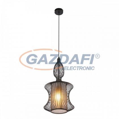 GLOBO 15268 KAI Függeszték , 60W , E27 , fém fekete, műanyag opál