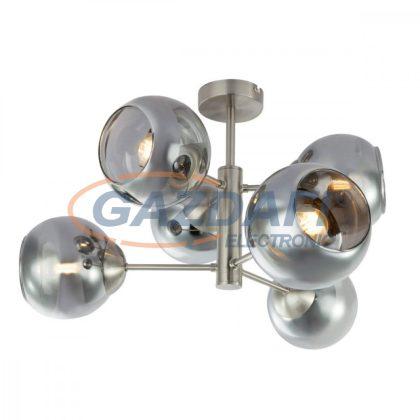 GLOBO 15310-6D SANZA Mennyezeti lámpa , 25W , 6x E14 , nikkel matt , föstös hatású üveg