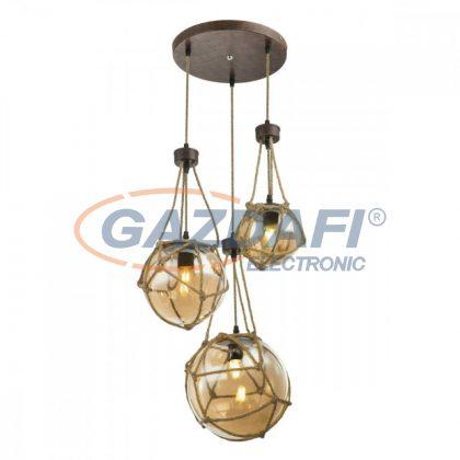 GLOBO 15859-3H TIKO Függeszték , 40W , 2x E27 , 1x E27 ILLU 25W , rozsda hatású / üveg / textil