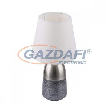 GLOBO 24135W EUGEN Asztali lámpa , 40W , E14 , fém, szálcsiszolt, nikkel matt, textil, fehér, ezüst