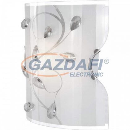 GLOBO 40404W BURGUNDY  Fali lámpa ILLU, 60W, 230V , E27 , nikkel matt , fém fehér , K5 kristályok , üveg