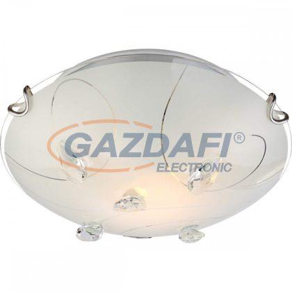GLOBO 40414-1 ALIVIA Mennyezeti lámpa , 60W , E27 , króm , fém fehér , K5 kristályok , üveg