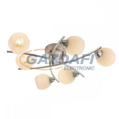GLOBO 54002-6 ROBIN Mennyezeti lámpa , 40W , E14 , nikkel matt , üveg