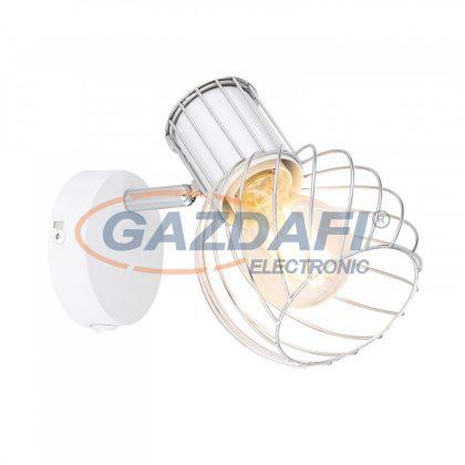 GLOBO 54014-1 MAIDA Spotlámpa fehér-króm színben, fém rácsos búrával. Kapcsolóval szerelve. SZxM::120x165, AL:160, exkl. 1xE27 40W 230V